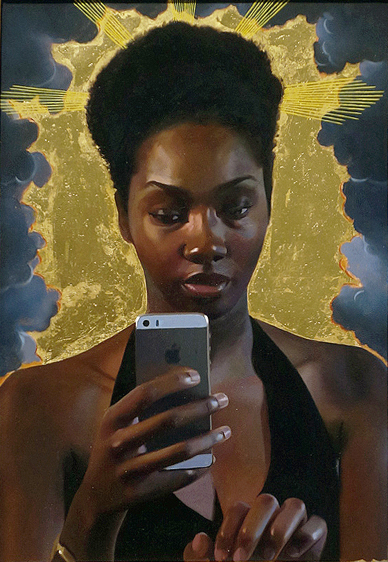 Jas Knight, Beatific, 2014. Oil with gold leaf on panel. Image courtesy of Bill Hodges Gallery.